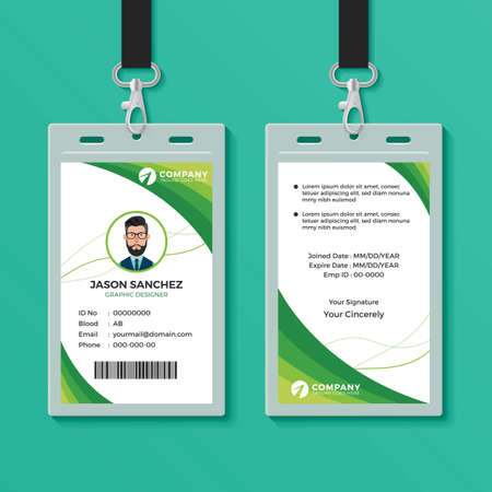 Green Graphic ID Card Design Template Çizim