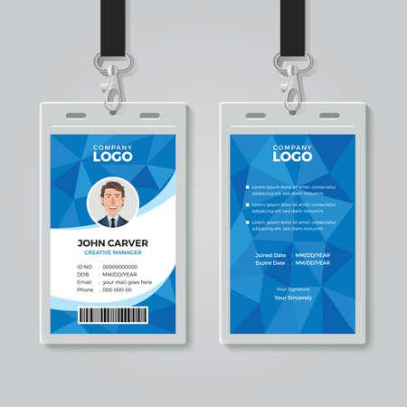 Plantilla de tarjeta de identificación de oficina de polígono azul