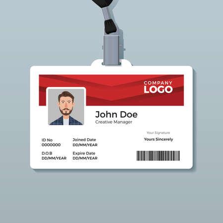 Modello di carta d'identità rosso semplice e pulito
