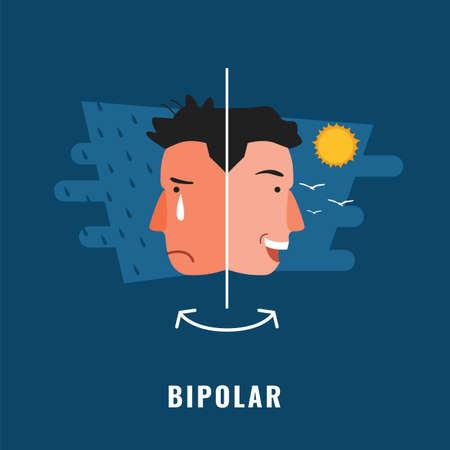 Bipolar. Psychological disorder. Mental health illustration 向量圖像