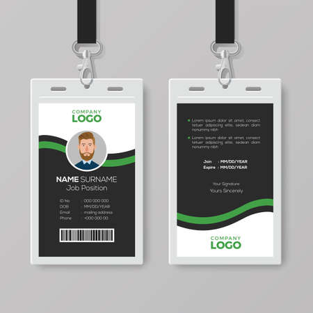 Corporate ID Card Template with Green Details