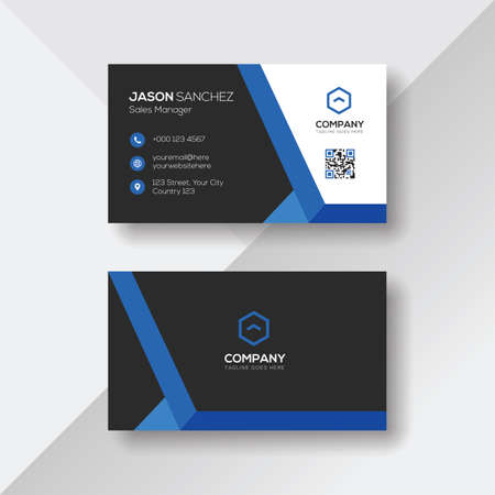 Creative Business Card with Blue Details Ilustrace