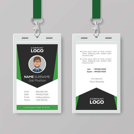 Creative Corporate ID Card Template with Green Details Ilustrace