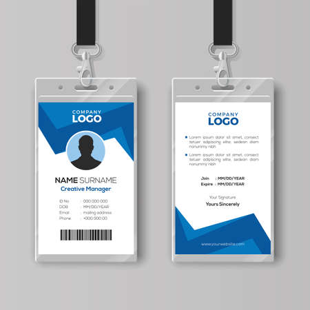 Creative ID Card Template with Abstract Blue Background