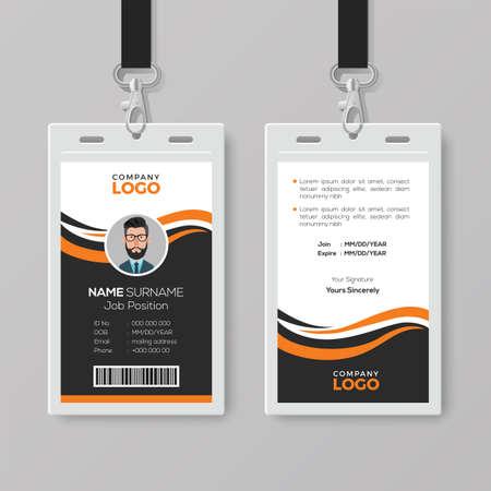 Plantilla de tarjeta de identificación moderna y creativa con detalles en naranja