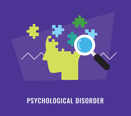 Psychological disorder with head and jigsaw puzzle illustration Illustration