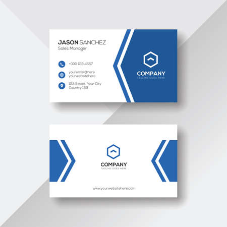 Modern Business Card with Blue Details