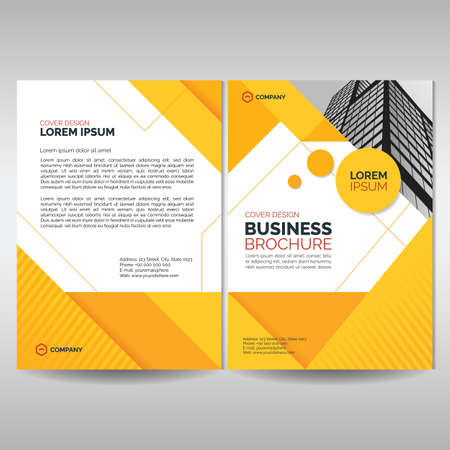 Business brochure cover template with yellow geometric shapes