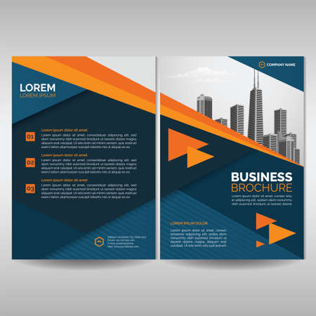 Business brochure cover template with orange details