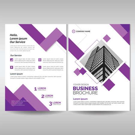 Szablon okładki broszury korporacyjnej z fioletowym geometrycznym stylem Ilustracje wektorowe