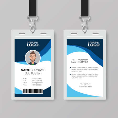 Stylish ID Card with Blue Details Illustration