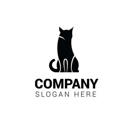Cat sitting logo template isolated on white background