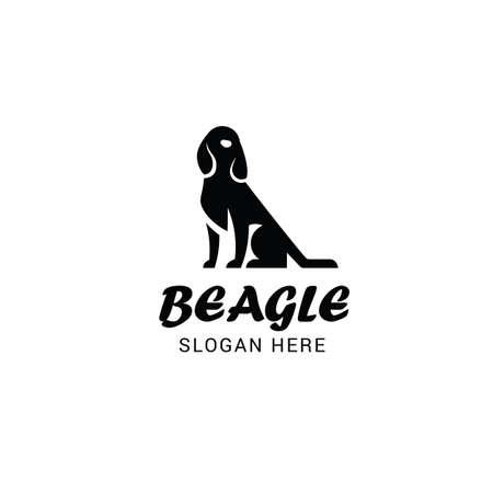 Beagle dog logo template isolated on white background