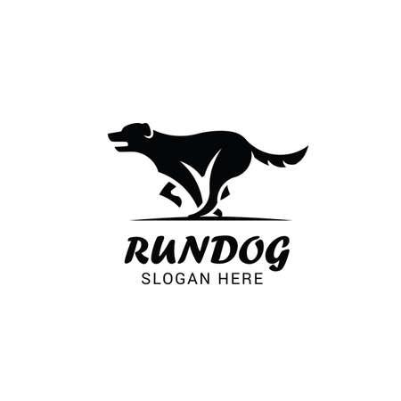 Running dog logo template isolated on white background Illustration