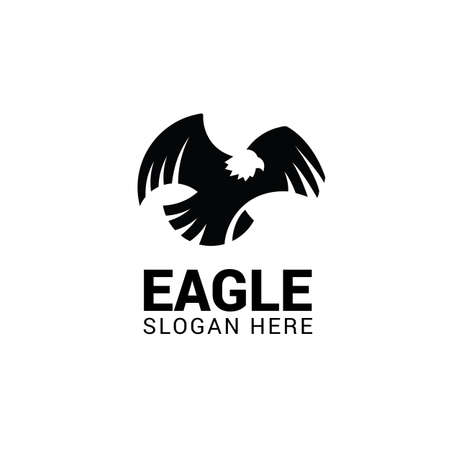 Flying eagle logo template isolated on white background