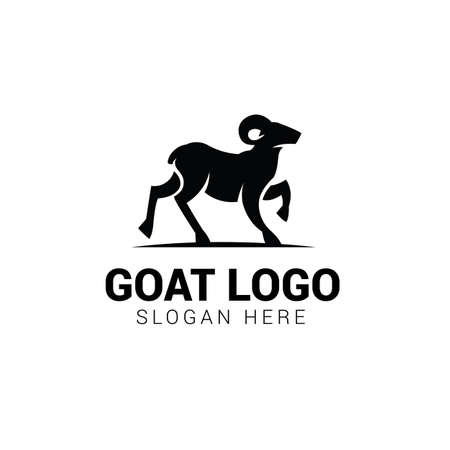Goat walking logo template isolated on white background