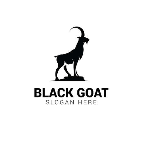 Goat standing on rock logo template