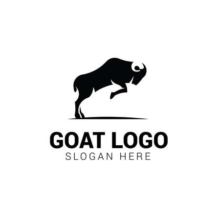 Jumping goat logo template isolated on white background 일러스트