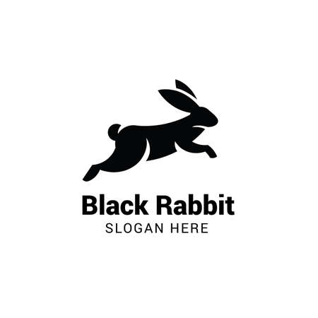 Rabbit jumping logo template isolated on white background Illustration