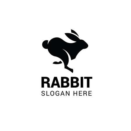 Running rabbit logo template isolated on white background