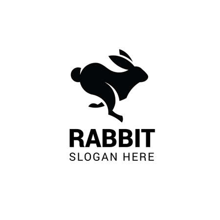 Running rabbit logo template isolated on white background