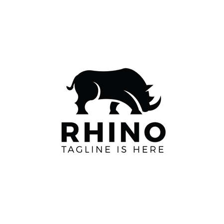 Angry rhino logo template isolated on white background