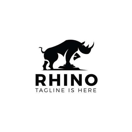 Rhino logo template isolated on white background