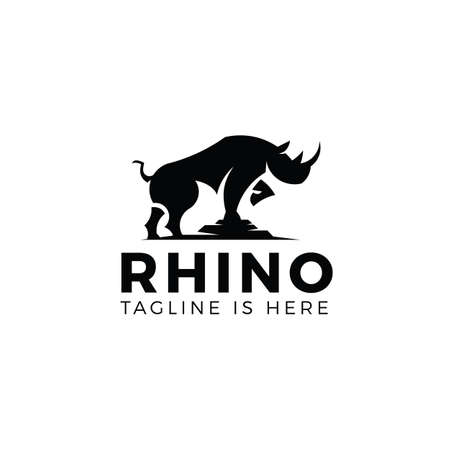 Rhino logo template isolated on white background