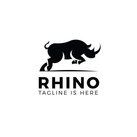 Jumping rhino logo template isolated on white background