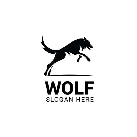 Jumping wolf logo template isolated on white background Illustration