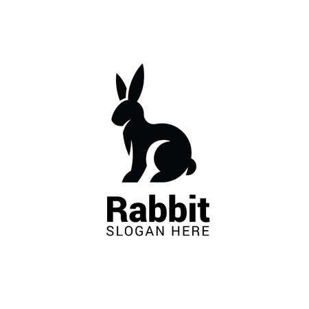 Rabbit logo template isolated on white background