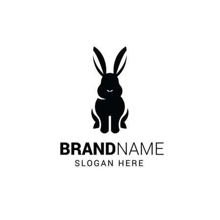 Rabbit sitting logo template isolated on white background Illustration