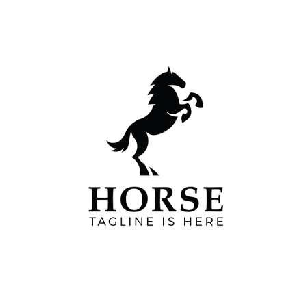 Prancing horse logo template isolated on white background Illustration