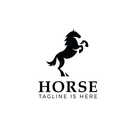 Prancing horse logo template isolated on white background Illustration