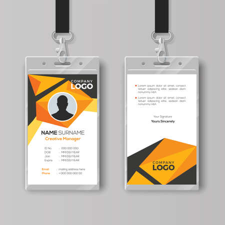 Creative ID card template with abstract orange geometric style