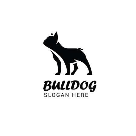 Logoschablone der französischen Bulldogge lokalisiert auf weißem Hintergrund