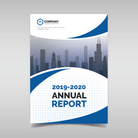 Annual report template with blue wavy shapes Ilustrace