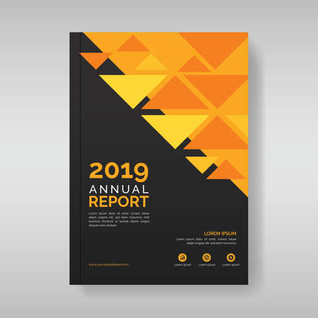 Annual report cover template with triangular geometric shapes