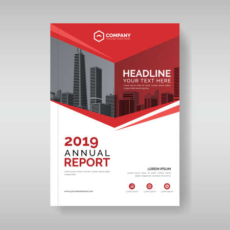 Annual report cover template with red geometric shapes