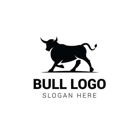 Bull walking logo template isolated on white background Illustration