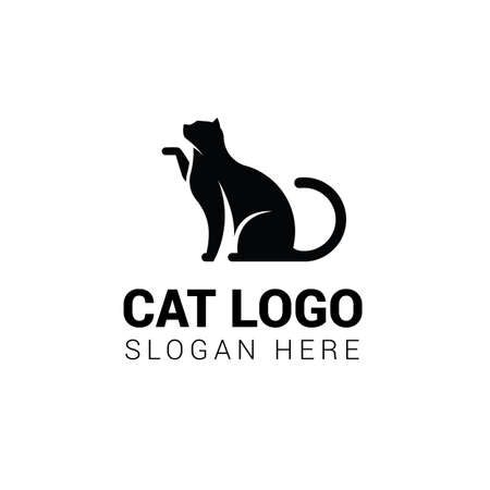 Cat sitting logo template Illustration