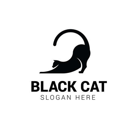 Cat stretching logo template isolated on white background