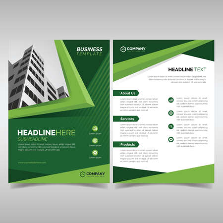 Business flyer template with green geometric shapes