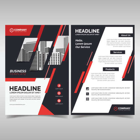Business flyer template with red details Ilustrace
