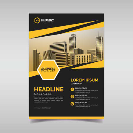 Black and yellow business flyer design template