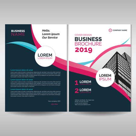 Corporate brochure cover template with pink details Illustration