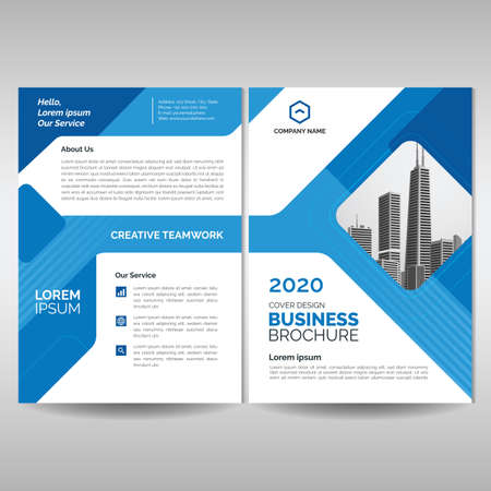 Business brochure cover layout template with blue geometric shapes. Modern cover, annual report, flyer, poster, magazine Illustration