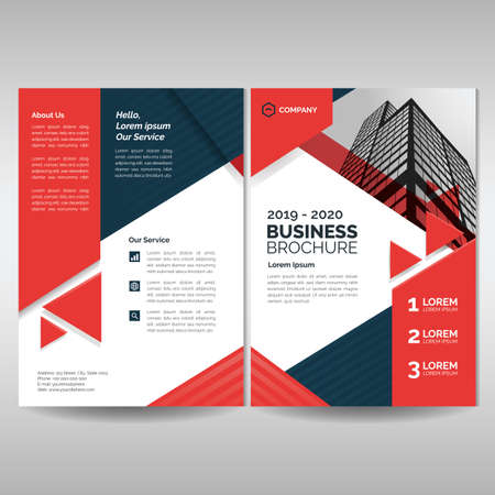 Business brochure cover layout template with red triangles. Modern cover, annual report, flyer, poster, magazine