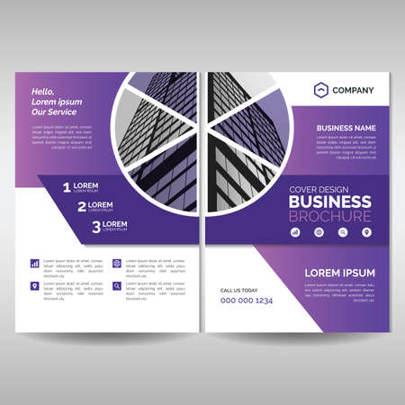 Business brochure cover layout template with modern purple shapes. Modern cover, annual report, flyer, poster, magazine Ilustrace