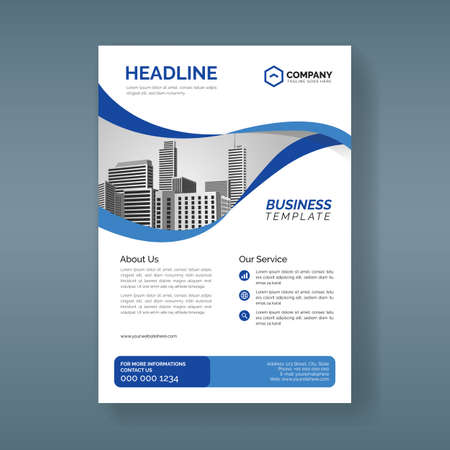 Corporate business flyer template with wavy blue shapes Illustration